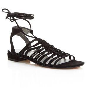 Stuart weitzman Knotagain black lace suede sandals